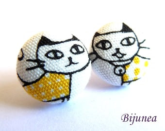Yellow cat stud earrings - Yellow cat earrings - Cat studs - Yellow cat jewelry - Yellow cat posts earrings sf1267