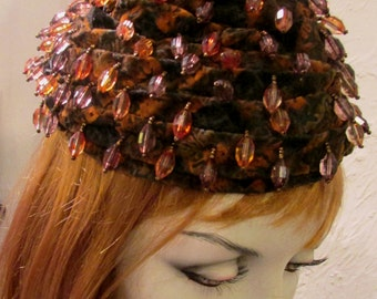 Vintage 1940's Tilt Hat Toque Beret Brown and Amber with Lucite Beads on Burned Velvet Acorn Topper Hat