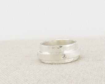 Spinner Ring  - Silver Engraved Ring - Worry Ring - Stone Ring - Diamond Ring