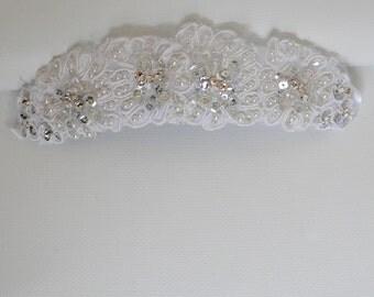 Vintage Ivory lace Headband - hand beaded Swarovski Crystal Ivory sequins glass pearl Tiara  ribbon ties- Made to order - ELSA