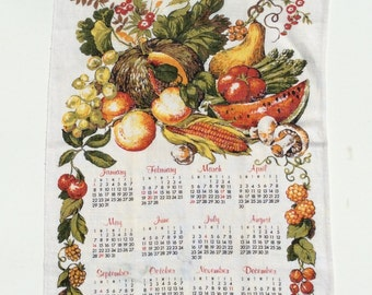 Vintage 1978 Calendar Towel Colorful Fall Harvest