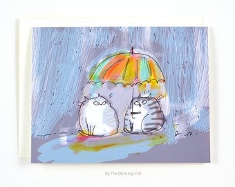 Rainy Day Friend - Cat Card - Thinking of You Card