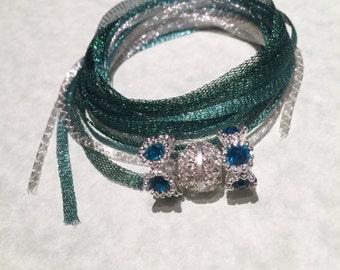 Charisma WireLace Bracelet Kit, Pale Silver, Turquoise, and Emerald, DIY Bracelet Kit, Kit A-9