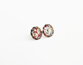Red Opal Post Earrings Vintage Foiled Glass Opal Studs Hypoallergenic Opal Jewelry Free Shipping Canada