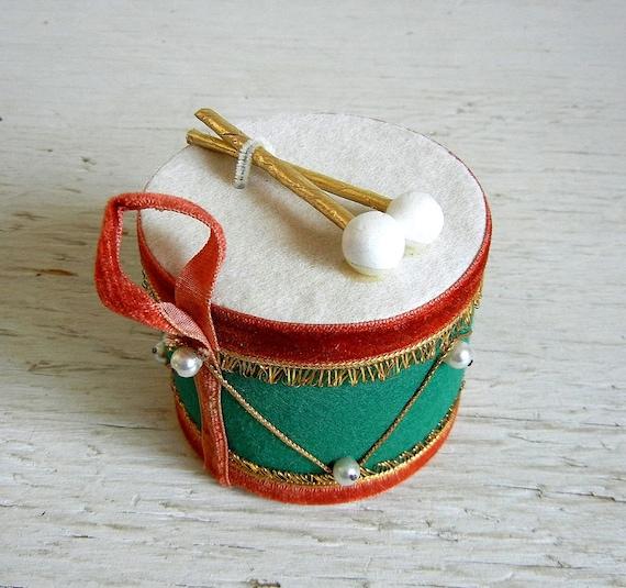 Vintage Christmas Drum Ornament Made In Japan Drummer