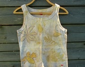 Cotton tank top eco print plant dyed