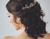Gold Pearl Headpiece | Ivory Wedding Hair Accessories | Golden Bridal Hair Comb [Aurae Hair Wreath]