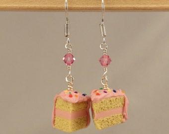 Miniature Food Pink Birthday Cake Earrings