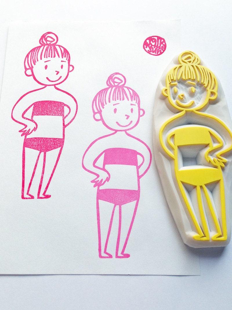 Beach girl stamp bikini swimmer hand carved rubber
