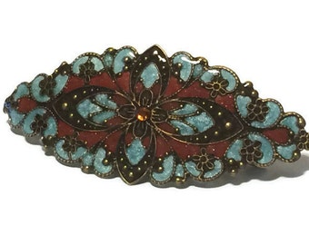 Coffee and Teal Hand Enameled Hair Ornament Barrette