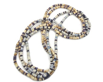 Boho Necklace, Blue Cream, Two Pair, Vintage Beaded, 1 970s Hippie, Bohemian, Boho Statement, Love Beads. Festival, Long, Layer
