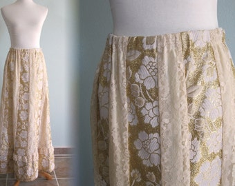 Vintage Gold and Lace Maxi Skirt - Pretty 70s Prairie Inspired Lace Skirt - Vintage 1970s Skirt M L