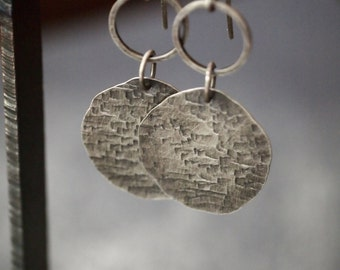 Handmade lightweight hammered fine silver disc and hoop earrings