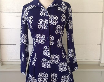 Vintage Sears Mod Abstract Fitted Flippy Mini Dress