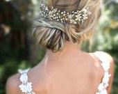 Boho Gold Halo Flower Hair Crown, Gold or Silver Wire Hair Wreath, Boho forehead band, Hair Vine, Boho Wedding Headpiece - 'VIOLETTA'