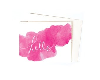Thank You Note, Hello Watercolor Single Greeting Card