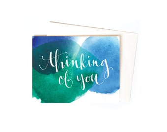 Thinking of You Greeting Card Set / Sympathy Cards with Watercolor and Hand Typography