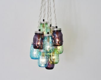 Mason Jar Chandelier Cluster, Hanging Chandelier Fixture Featuring Blue, Green and Purple Ball Jars, Modern BootsNGus Lighting & Home Decor