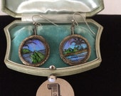 Vintage Blue Morpho Butterfly Wing Earrings...Tropical Beach Wedding...Bridesmaids Gift  #1
