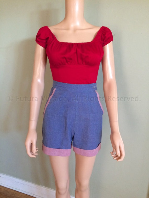 1950s Summer Fun RW Mfg Co Sanforized High Waist Blue Cotton Shorts with Contrast Cuffs Hidden Zipper and Pockets-XS