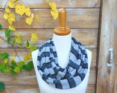 WINTER SALE -  Charcoal Grey Infinity Scarf, Knit Scarf, Grey Stripe Infinity Scarf, Circle Scarf, Sweater Scarf, Winter Scarf, Cowl