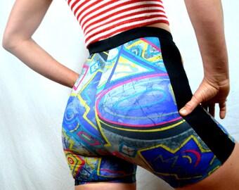 Vintage 90s Danskin Rainbow Neon Spandex Workout Shorts
