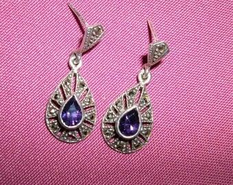 Vintage Sterling Silver Marcasite  purple Amethyst Teardrop earrings on Sale