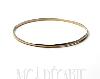 BANGLE in solid GOLD 10k yellow gold bangle, half round 1mm x 2mm gold wire. Gift for her, bracelet in gold