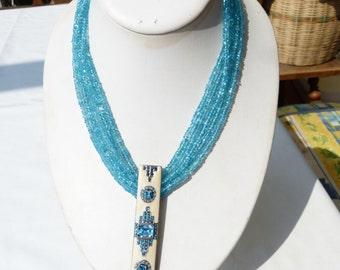 Art Deco Brooch/Pendant - Five strand Neon Apatite necklace