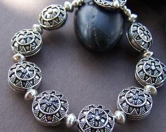 Lanelle Bali Silver Bracelet - Sterling Silver Bali Beaded Bracelet