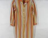 Retro 60s Striped Shirtdress M Orange Yellow Acetate Pullover Long Sleeve