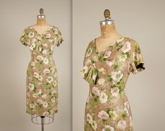 1950s fabulous floral sheath dress • vintage 50s dress • summer wiggle dress