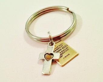 CROSS Mustard Seed Keychain, Faith Christian Religious Gift, Inspirational, Real Mustard Seed, Matthew 17:20, Encouragement, Bible Scripture