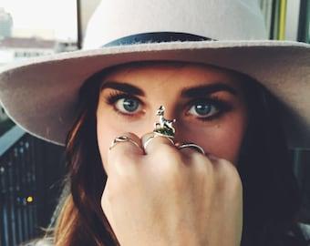 Miniature Deer Ring - Nature Jewelry - Terrarium Ring - Woodland Ring - Moss Ring - Bronze Silver Gold Deer Jewelry