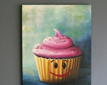 Original Smiling Cupcake Painting