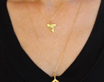 Shark Tooth Necklaces Gold, Summer Beach Charms Layering Necklaces 18K Gold N027
