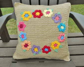 Pillow Cover Beige Tan with Bright Color Flowers, Handmade Crochet Cover for Square Throw Pillow, Reversible Knit Pillow Case