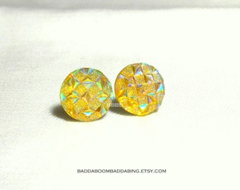 Yellow Iridescent Earrings Surgical Steel Stud Posts 10mm
