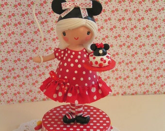 Available~ Minnie Mouse Cake Topper Decoration Little Girl Birthday Party Red Mouse Ears Vintage Style Boho Shabby Handmade Pink One Kids