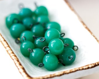 Vintage Japan Jade Green Glass Connector Beads with Loops
