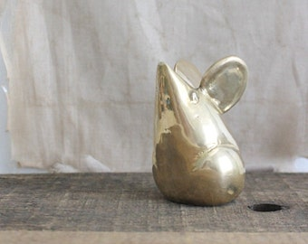 vintage brass mouse, large mouse figurine