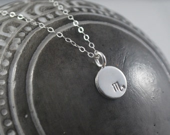 SCORPIO dainty coin necklace. small silver zodiac necklace Scorpio symbol jewelry Meaningful thoughtful gift or great layering necklace