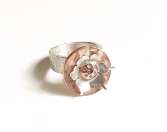 Size 5.5 - Mixed Metal Lotus Ring - Hand Forged Sterling Silver And Copper - One Of A Kind - Reiki Infused