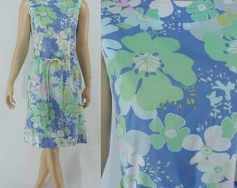 SALE Vintage Sixites Dress, 1960s Floral Cotton Dress - 60s Shift Dress - Sleeveless Summer Dress - Large