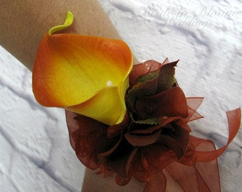 Calla lily wrist corsage, Orange brown Autumn wedding corsages