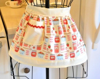 Little Girl's Retro Vintage Style Half Apron with Strawberries