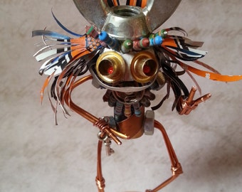 Hammer, Tribal elder robot sculpture, recycled metal art