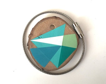 Wood keychain with stainless  cable wire option plus initial on other side keyring ,aqua, white, green  geometric triangle shapes