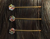 Set Of Three Tiny Multi Color Glitter Hexagon Hair Pins Bobby Pins Barrettes, Glitter Hair Pins, Hexagon Hair Pins, Geometric Hair Pins