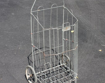 Vintage Metal Wire Shopping Cart Folding Collapsible